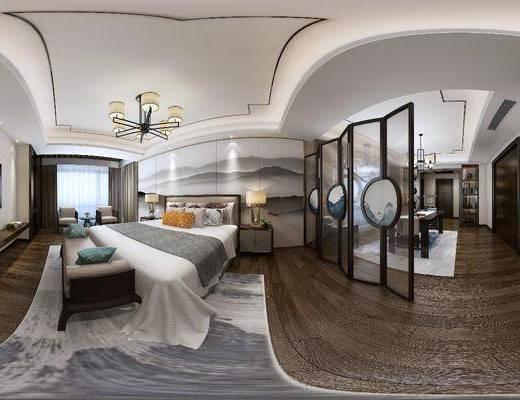卧室, 床, 屏风, 隔断, 新中式, 中式, 床尾凳, 床头柜, 书桌椅, 书房