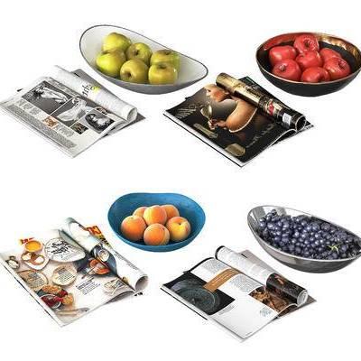 水果, 苹果, 桃子, 葡萄, 现代, 杂志