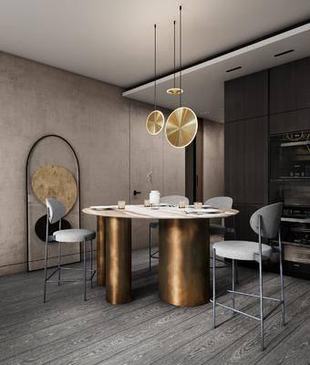餐廳, 桌椅組合, 餐桌, 餐椅, 單人椅, 餐具, 吊燈, 現代