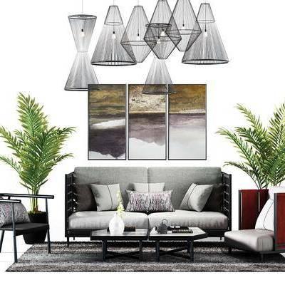 双人沙发, 布艺沙发, 单人沙发, 茶几, 吊灯, 绿植, 装饰画, 新中式