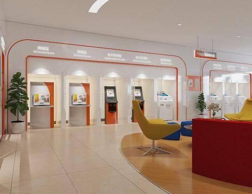 现代银行智能服务区3d模型, 银行, 智能设备