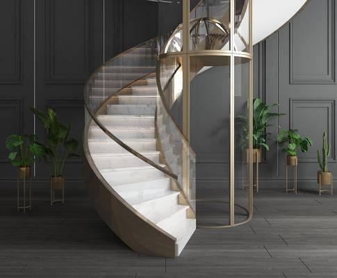 觀光電梯, 垂直電梯, 升降電梯, 旋轉樓梯, 盆栽, 綠植植物, 現代