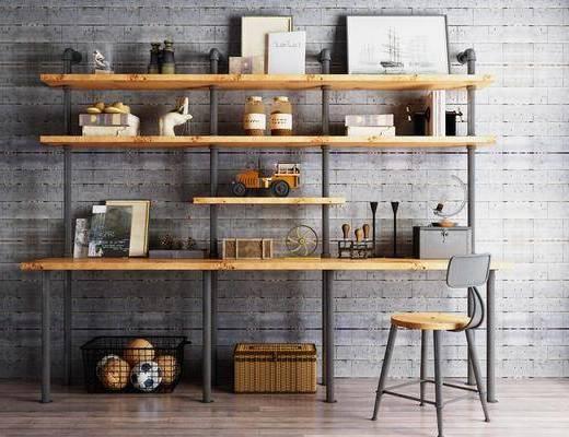 装饰柜架, 置物柜, 书籍, 摆件组合, 单椅