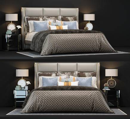 后现代双人床组合, 床头柜, 台灯