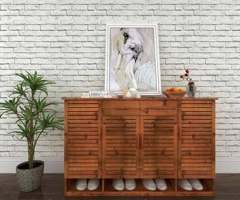 鞋柜, 柜架组合, 摆件组合, 装饰画, 盆栽植物