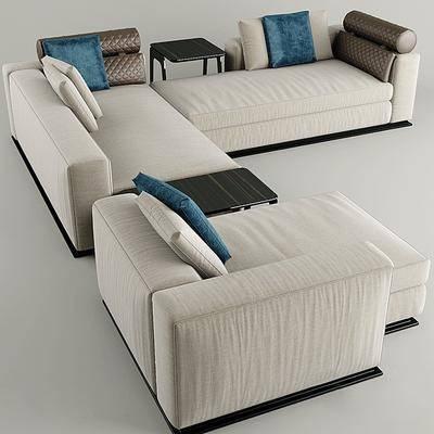 多人沙发, 抱枕, 椅子, 布艺, 现代