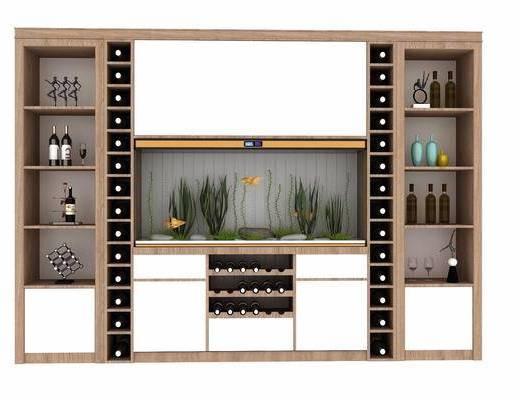酒柜, 现代酒柜, 酒瓶, 浴缸, 摆件, 现代