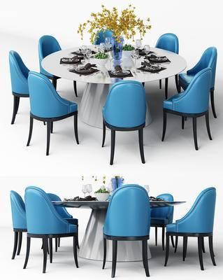餐桌椅, 桌椅组合, 单椅, 椅子, 休闲椅, 餐桌, 桌子, 餐具, 花瓶, 现代
