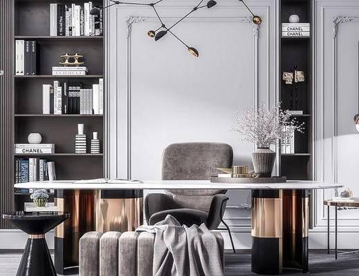 桌椅组合, 书柜, 吊灯, 边几