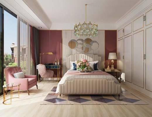卧室, 双人床, 床头柜, 台灯, 吊灯, 书桌, 单人椅, 墙饰, 单人沙发, 边几, 花瓶, 花卉, 美式
