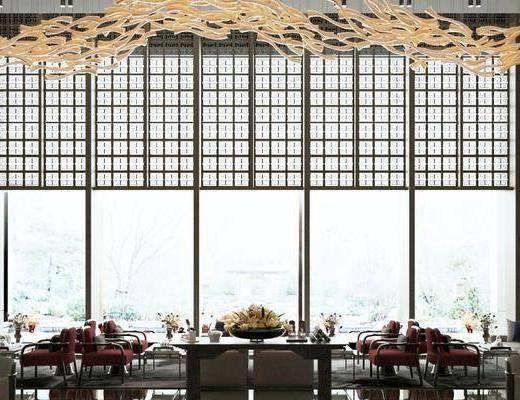 售楼处, 桌椅组合, 吊灯, 摆件组合, 沙发组合