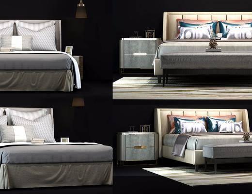 现代双人床, 现代, 床, 床头柜, 脚踏, 床品, 现代台灯