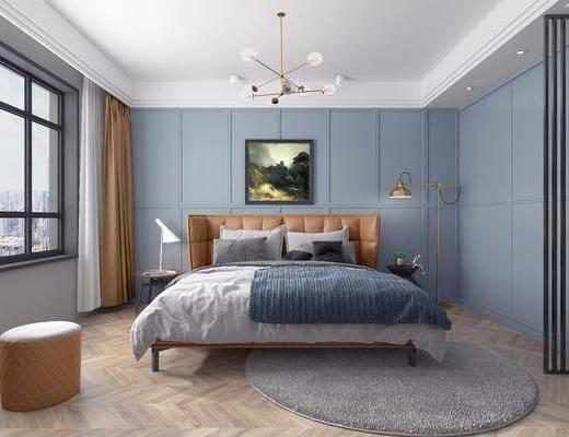 现代卧室, 北欧卧室, 现代双人床, 卧室