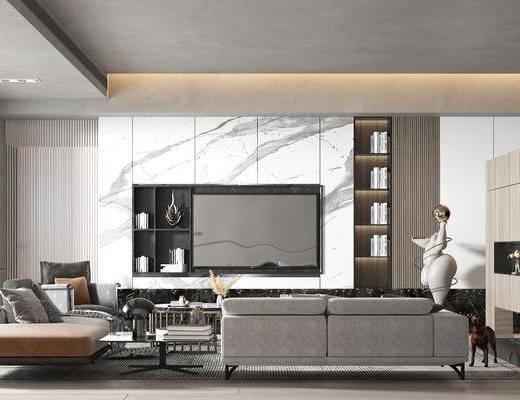 现代, 客厅, 多人沙发, 装饰画, 边几, 摆件, 休闲椅