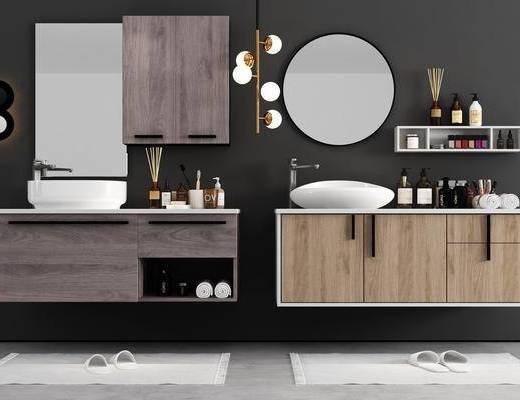 现代卫浴柜架组合, 柜架组合, 卫浴小件, 镜, 壁灯, 毛巾, 置物柜, 拖鞋, 现代