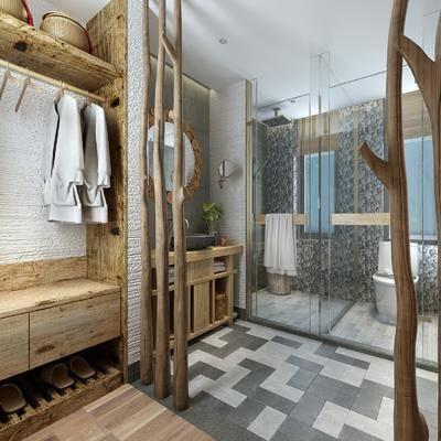 卫生间, 民宿, 日式民宿卫生间, 浴室, 卫浴小件