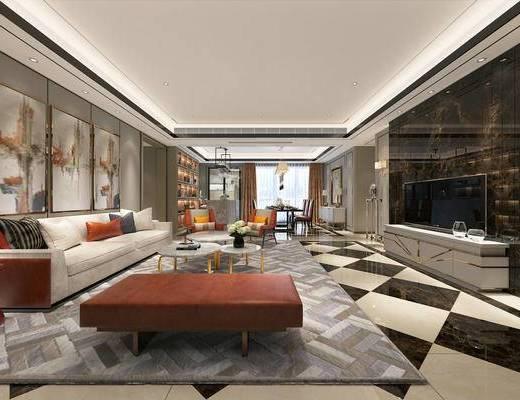 客厅, 沙发组合, 现代沙发, 沙发茶几组合, 现代客厅, 多人沙发