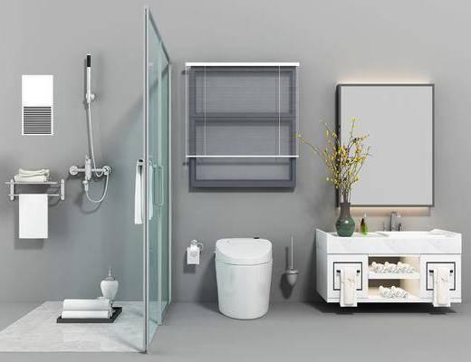 卫生间, 卫浴洁具, 马桶, 洗手台, 现代