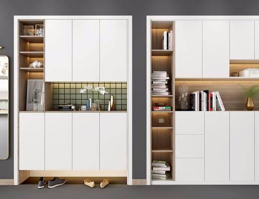 北欧鞋柜书柜组合, 书柜, 鞋柜, 置物柜, 北欧