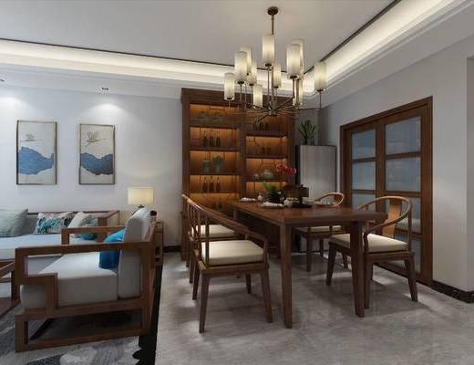 新中式客餐厅, 中式餐桌, 中式沙发茶几, 客厅, 中式客厅, 沙发组合
