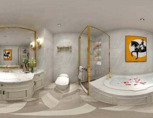 浴柜, 沐浴房, 浴缸, 洗手盆, 马桶, 装饰画