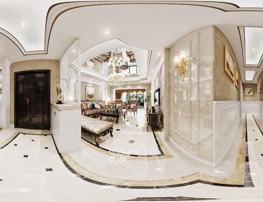 简欧, 客厅, 欧式, 客餐厅, 沙发组合, 沙发茶几组合, 壁灯, 吊灯, 酒柜, 玄关柜