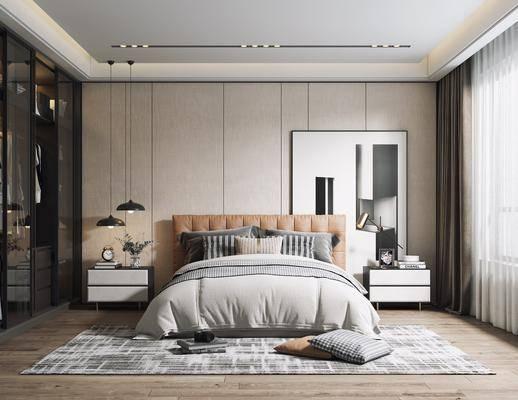 双人床, 装饰画, 吊灯, 床头柜, 衣柜, 地毯