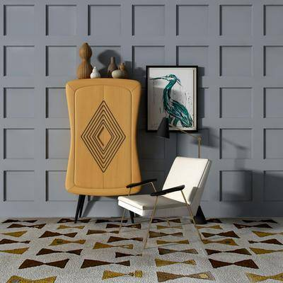 边柜组合, 单人椅, 动物画, 现代