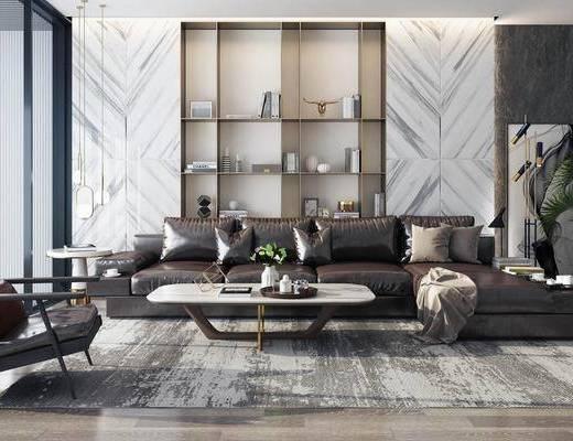 沙发组合, 沙发茶几组合, 现代沙发, 多人沙发, 背景墙, 装饰柜, 置物架