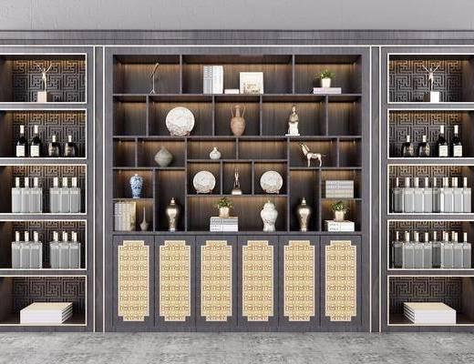 装饰柜, 新中式装饰柜, 摆件, 酒瓶, 新中式