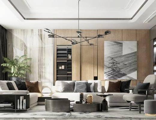 沙发组合, 吊灯, 茶几, 摆件组合, 装饰画, 盆栽植物