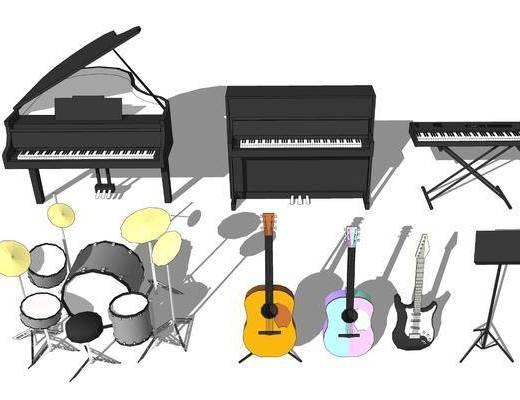 乐器, 画具, 钢琴, 吉他