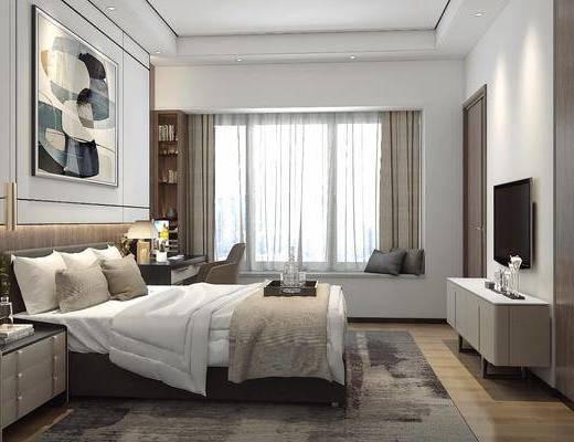 卧室, 双人床, 床头柜, 装饰画, 挂画, 电视柜, 边柜, 吊灯, 书桌, 单人椅, 台灯, 装饰柜, 摆件, 装饰品, 陈设品, 后现代