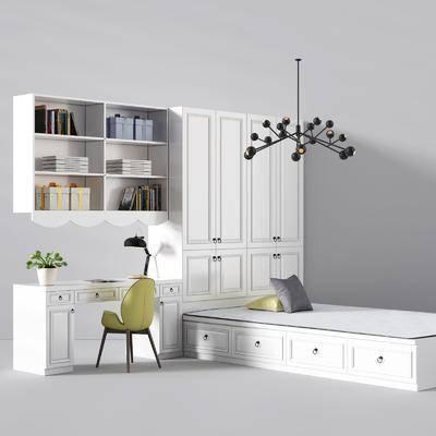 榻榻米床, 衣柜, 吊灯, 装饰架, 摆件, 书桌, 单椅, 台灯