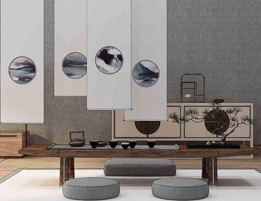茶案茶桌, 单人椅, 边柜, 台灯, 中式
