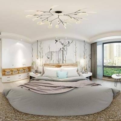 新中式卧室, 新中式, 卧室, 电视柜, 椅子, 床, 床头柜