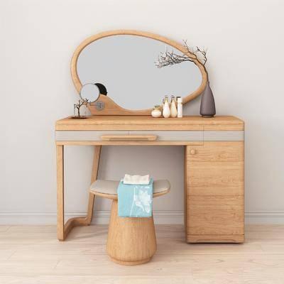 梳妆台, 梳妆凳, 凳子, 花瓶花卉, 装饰镜, 装饰品, 陈设品, 摆件, 北欧