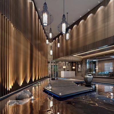 水池, 酒店, 水晶, 大堂, 大厅