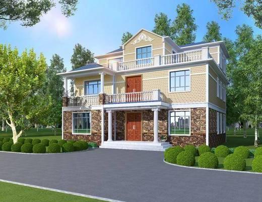 轻钢别墅, 门面门头, 树木, 绿植植物, 灌木组合, 现代