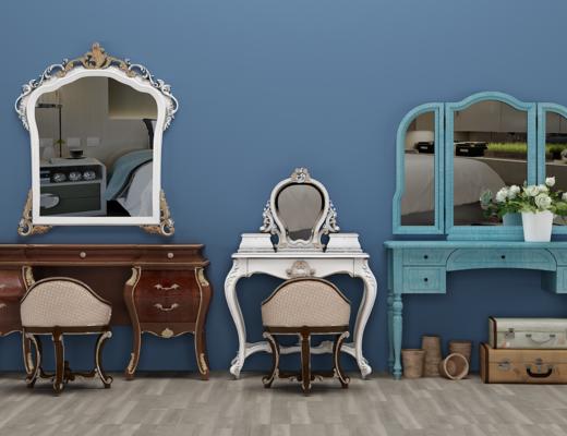 北欧梳妆台, 凳子, 镜子, 装饰品