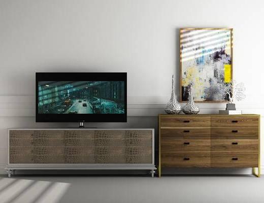 电视柜, 装饰柜, 边柜, 装饰画, 挂画, 摆件, 装饰品, 陈设品, 北欧