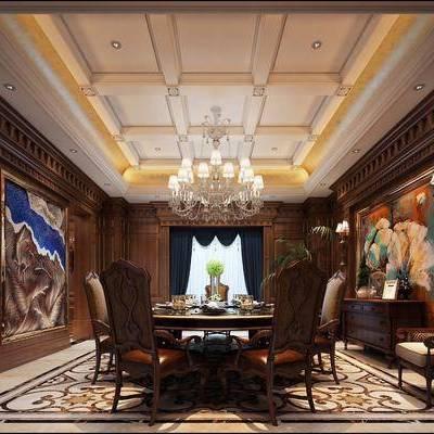 美式田园餐厅, 美式, 餐厅, 美式椅子, 美式边柜, 角线, 餐桌
