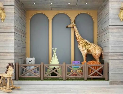 儿童玩具, 玩具, 长颈鹿, 栏杆, 帐篷