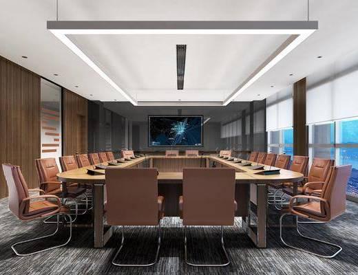 会议室, 现代会议室, 办公桌, 桌椅组合, 现代