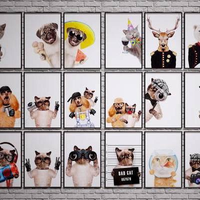 现代装饰挂画, 宠物装饰挂画, 狗狗挂画