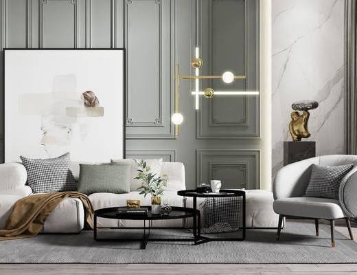 沙发组合, 茶几, 摆件组合, 单椅, 吊灯, 装饰画