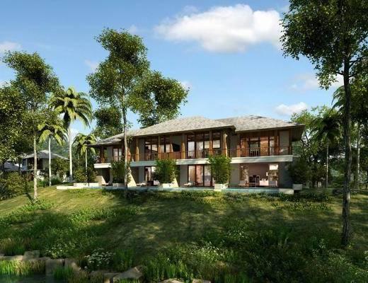 别墅, 门面门头, 树木, 植物绿植, 草地, 简欧