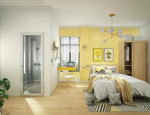 公寓, 北欧公寓, 床具组合, 卧室, 卫浴, 挂画, 吊灯, 衣柜, 北欧