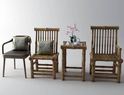 抱枕, 单椅, 边几, 摆件组合
