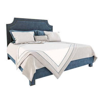 现代, 布艺双人床, 双人床, 现代双人床